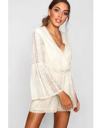 a20d1d557e Boohoo - Flare Sleeve Crochet Playsuit - Lyst