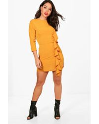 Boohoo | Cally Side Ruffle Split Hem Bodycon Dress | Lyst