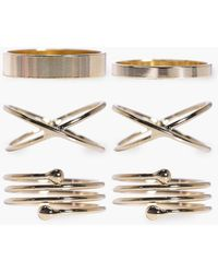 Boohoo - Claire Simple Stackable Mixed 6 Ring Set - Lyst