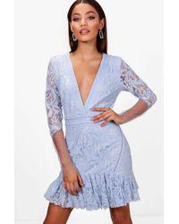 Boohoo - Boutique Myleene Stud And Lace Rara Dress - Lyst