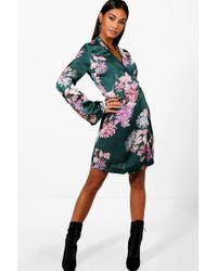 Boohoo - Premium Oriental Floral Wrap Kimono Dress - Lyst