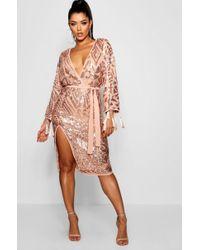 Boohoo - Sequin And Tassel Kimono Sleeve Midi Dress - Lyst
