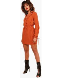 Boohoo | Abby Drawcord Sleeve Woven Shirt Dress | Lyst