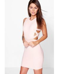 Boohoo - Lattice Side Textured Bodycon Dress - Lyst