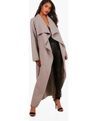 7d5831611e343 Boohoo Waterfall Belted Sleeveless Coat in Brown - Lyst