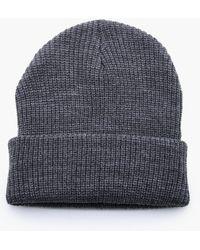 Boohoo - Rib Knit Beanie Hat - Lyst