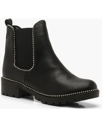 1b4573c5e258 Lyst - Boohoo Studded Chunky Chelsea Boots in Black