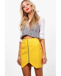 48e0e0cc1aa5 Boohoo - Zip Front Vinyl Mini Skirt - Lyst