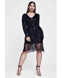 Boohoo - Premium Plus Mila Sequin & Tassle Long Sleeve Dress - Lyst
