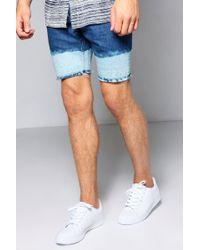 Boohoo   Mid Blue Skinny Fit Denim Shorts   Lyst