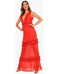Boohoo - Boutique Ladder Trim Ruffle Maxi Dress - Lyst