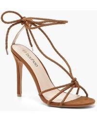 9baf212239e0 Lyst - Missguided Brown Plaited Block Heel Sandal in Brown