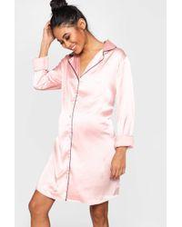 359edd922a6 Boohoo - Maternity Satin Button Through Night Shirt - Lyst
