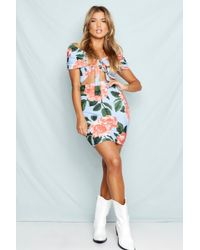 d452acd29b8cc Boohoo Floral Off The Shoulder Bodycon Dress in Blue - Lyst