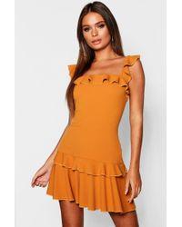 Boohoo - Ruffle Strap Drop Hem Mini Dress - Lyst 5675ec1af