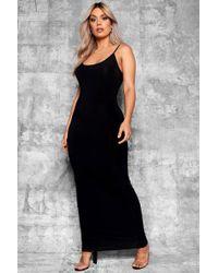 9823ccab8db7 Boohoo Plus Satin Knot Front Maxi Dress in Black - Lyst