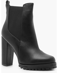e0ef35f9cd74 Lyst - Boohoo Rebecca Suedette Cleated Pull On Chelsea Boot in Black