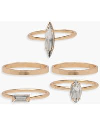 Boohoo - Diamante Stack Ring Pack - Lyst