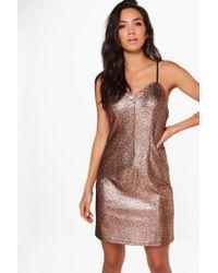 Boohoo - Maisie Metallic Strappy Bodycon Dress - Lyst