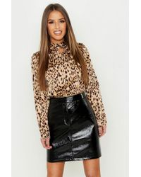 Boohoo - Petite Cut Out Neck Animal Print Blouse - Lyst