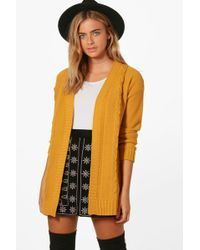 Boohoo - Daisy Edge To Edge Cable Knit Cardigan - Lyst