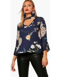 Boohoo - Lily Oriental Floral Choker Blouse - Lyst