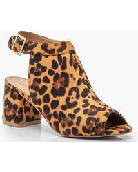 Boohoo - Wide Fit Peeptoe-Stiefelette mit Leoparden-Print - Lyst