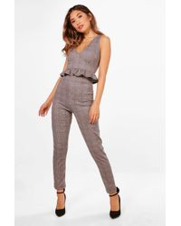 Boohoo - Rita Check Plunge Crop And Skinny Trouser Set - Lyst