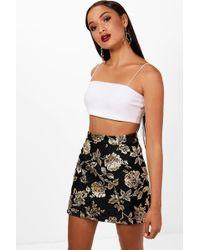 Boohoo - Lydia Metallic Brocade A Line Mini Skirt - Lyst
