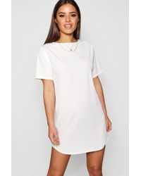 6cd7a6f582 Boohoo Petite Corset T-shirt Dress in White - Lyst