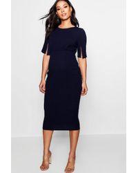 Boohoo - Maternity Split Sleeve Wiggle Midi Dress - Lyst
