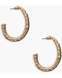 Boohoo - Textured Chunky Hoop Earrings - Lyst