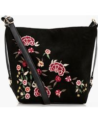 Boohoo - Rosie Embroidered & Stud Bucket Cross Body - Lyst