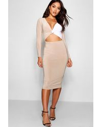 Boohoo - Slinky Contrast Panelling Midi Dress - Lyst