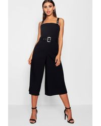 c1c00d10e8e Dorothy Perkins · Boohoo - Petite Belted Square Neck Woven Jumpsuit - Lyst