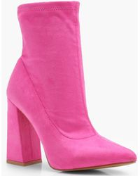Boohoo - Orla Flared Heel Suedette Shoe Boots - Lyst