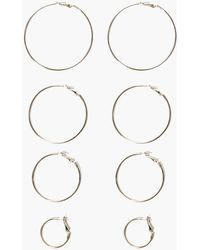 Boohoo - Sophia Mixed Size Simple Hoop Earring Set - Lyst