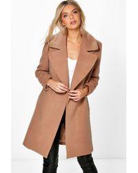 Boohoo - Oversized Collar Wool Look Coat - Lyst