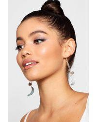 Boohoo - Moon Drop Earrings - Lyst