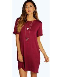 Boohoo - Turn Back Cuff T-shirt Dress - Lyst