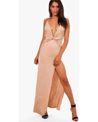 Boohoo - Ida Slinky Twist Front Plunge Split Maxi Dress - Lyst