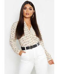 43a62854c319 Boohoo Satin Stripe Woven Bodysuit in Metallic - Lyst