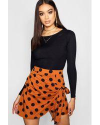 Boohoo - Woven Wrap Front Large Polka Dot Mini Skirt - Lyst