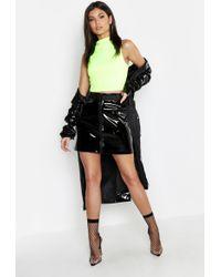 Boohoo - Pu Patent Buckle Mini Skirt - Lyst