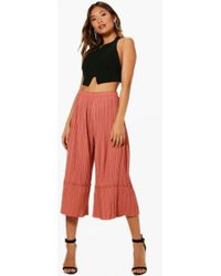 Boohoo Pleated Velvet Wide Leg Culottes Natural And Freely Sale Nicekicks Reliable For Sale Free Shipping Websites Low Cost 4xmms