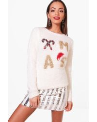 Boohoo - Fluffy Knit Sequin Christmas Jumper - Lyst