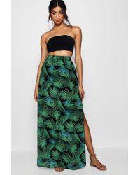 Boohoo - Double Split Palm Print Maxi Skirt - Lyst