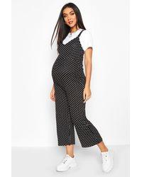 Boohoo - Maternity Polka Dot Pinafore Jumpsuit - Lyst