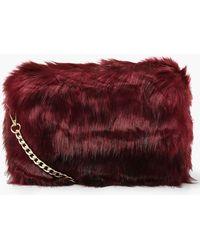 29dc9cafc82b Lyst - Boohoo Mia Faux Fur Cross Body Bag in Gray