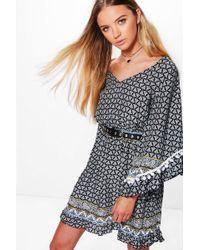 Boohoo - Carolyn Paisely Pom Pom Shift Dress - Lyst
